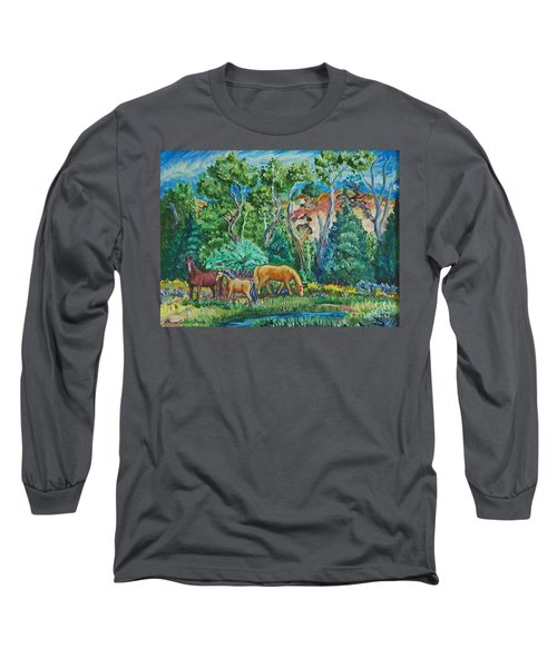 Lazy Wyoming Afternoon Long Sleeve T-Shirt by Dawn Senior-Trask