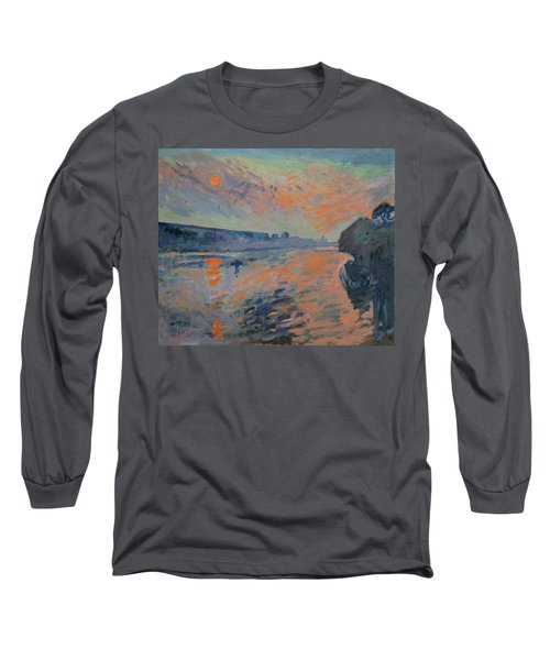 Le Coucher Du Soleil La Meuse Maastricht Long Sleeve T-Shirt by Nop Briex