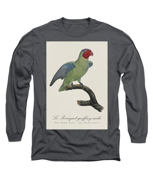 Le Perroquet Geoffroy Male / Red Cheeked Parrot - Restored 19th C. By Barraband Long Sleeve T-Shirt by Jose Elias - Sofia Pereira