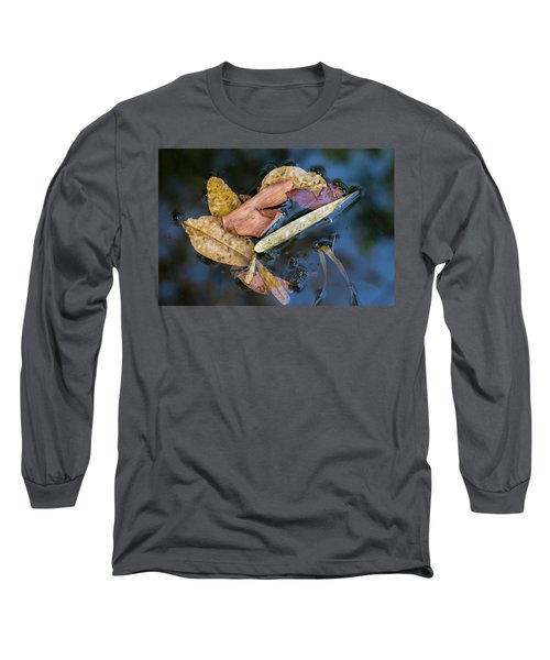 Long Sleeve T-Shirt featuring the photograph Leaf Litter In Pond, Navegaon, 2011 by Hitendra SINKAR