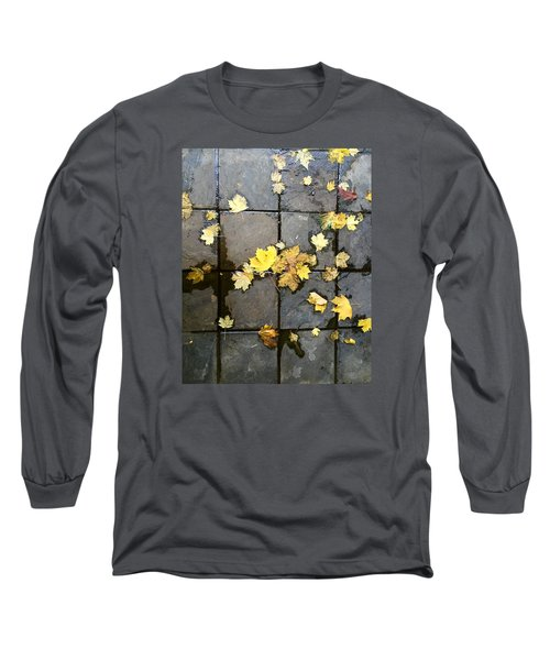 Leaves On Slate Long Sleeve T-Shirt by Suzanne Lorenz