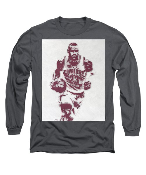 Lebron James Cleveland Cavaliers Pixel Art 4 Long Sleeve T-Shirt