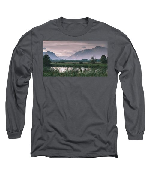 Leisure Boat On River Adda In Northern Italy, Close To Lake Como - Reflection Of Italian Alps Long Sleeve T-Shirt