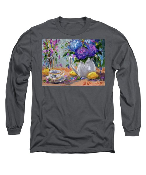 Long Sleeve T-Shirt featuring the painting Lemons And Purple  by Jennifer Beaudet