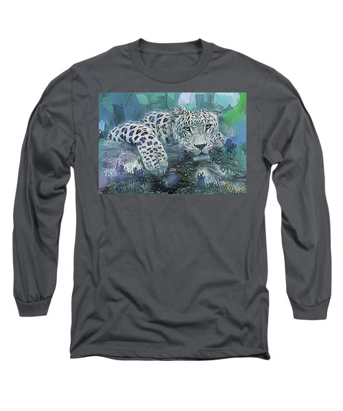 Long Sleeve T-Shirt featuring the digital art Leopard Abstract by Galen Valle