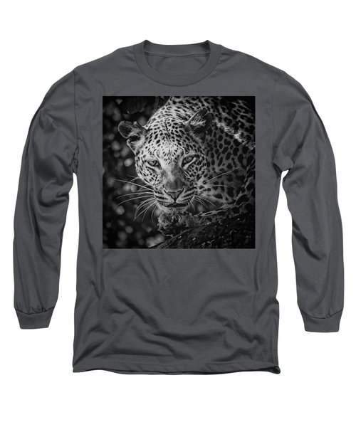 Leopard, Black And White Long Sleeve T-Shirt