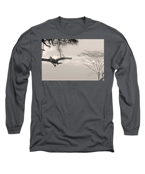 Leopard Resting On A Tree Long Sleeve T-Shirt