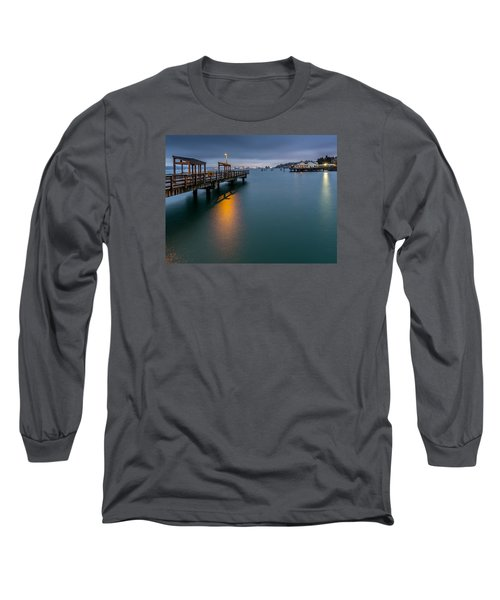 Long Sleeve T-Shirt featuring the photograph Less Davis Pier Commencement Bay by Rob Green