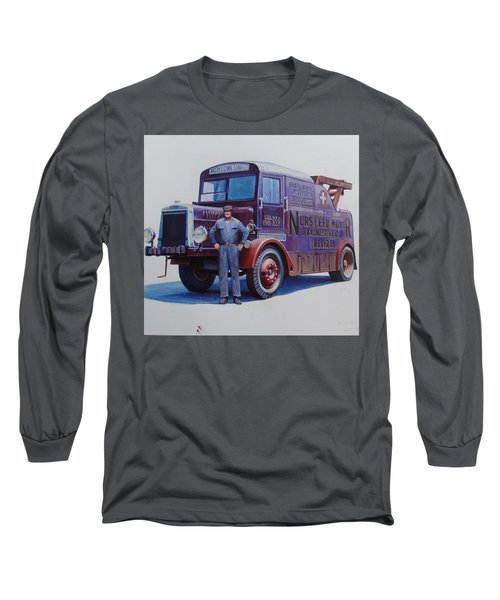 Long Sleeve T-Shirt featuring the painting Leyland Wrecker 1930. by Mike  Jeffries