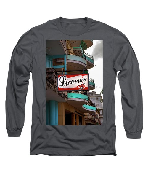 Long Sleeve T-Shirt featuring the photograph Licorama Bar Liquor Store In Havana Cuba At Calle 6 by Charles Harden