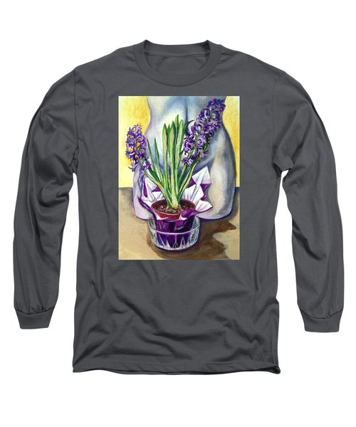 Long Sleeve T-Shirt featuring the drawing Life Spring by Laura Aceto