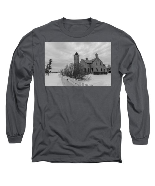 Long Sleeve T-Shirt featuring the photograph Lighthouse And Mackinac Bridge Winter Black And White  by John McGraw