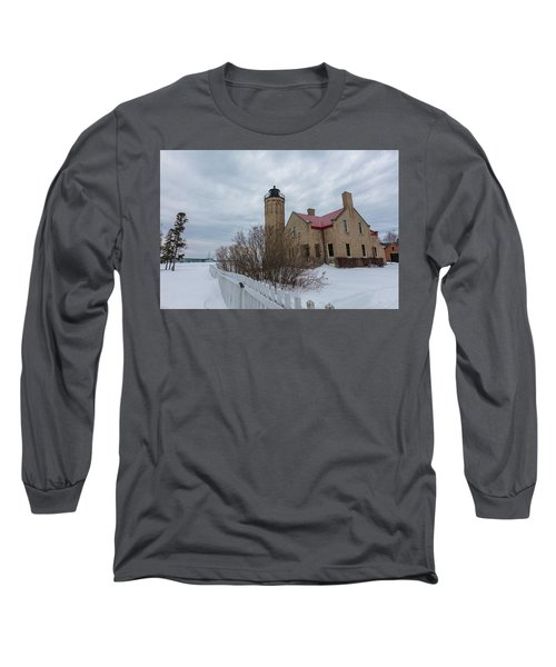 Long Sleeve T-Shirt featuring the photograph Lighthouse And Mackinac Bridge Winter by John McGraw
