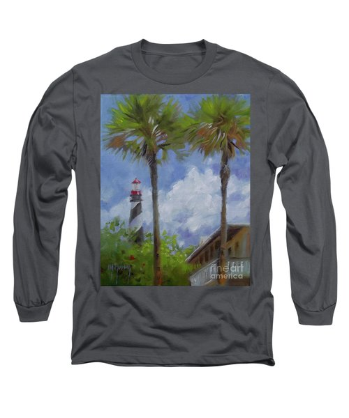 Lighthouse And Palms Long Sleeve T-Shirt by Mary Hubley