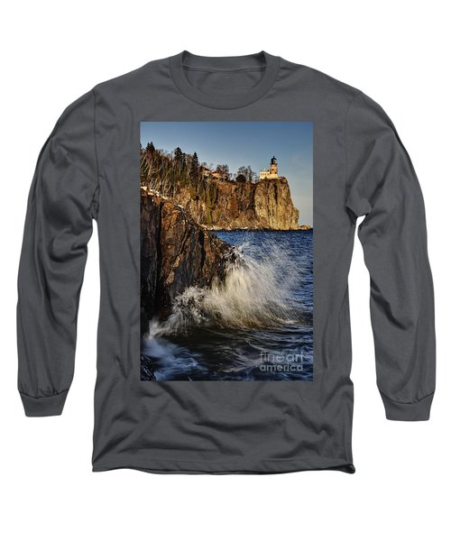 Long Sleeve T-Shirt featuring the photograph Lighthouse And Spray by Larry Ricker