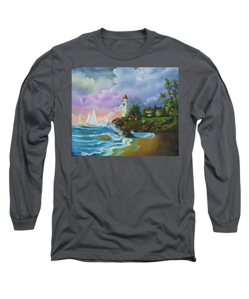 Lighthouse By The Village Long Sleeve T-Shirt