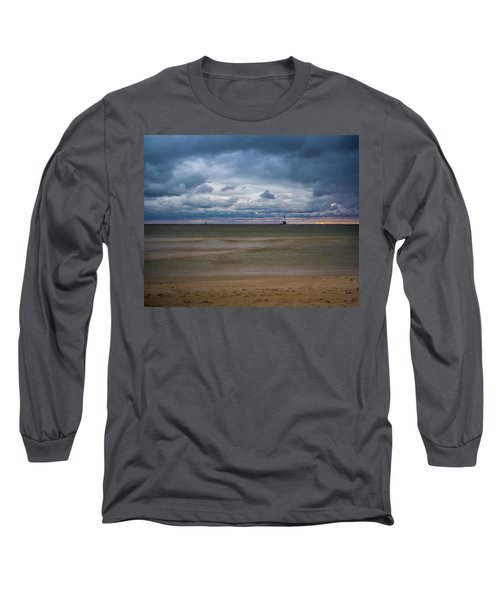 Lighthouse Under Brewing Clouds Long Sleeve T-Shirt