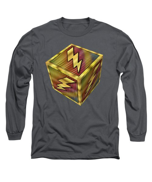 Long Sleeve T-Shirt featuring the digital art Lightning Bolt Cube - Transparent by Chuck Staley