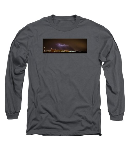 Lightning Bolt Over Suburbs Long Sleeve T-Shirt