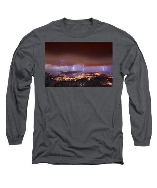 Lightning Over Water Island Long Sleeve T-Shirt