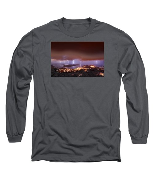 Lightning Over Water Island Long Sleeve T-Shirt