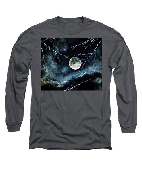 Lightning Sky At Full Moon Long Sleeve T-Shirt