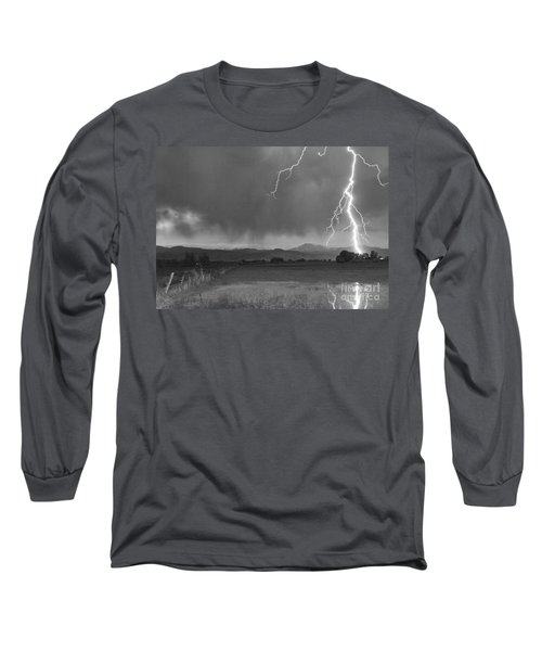 Lightning Striking Longs Peak Foothills 5bw Long Sleeve T-Shirt