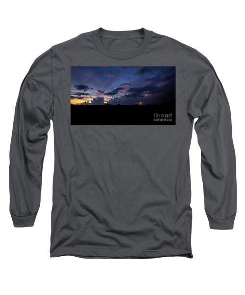 Long Sleeve T-Shirt featuring the photograph Lightning Sunset by Brian Jones