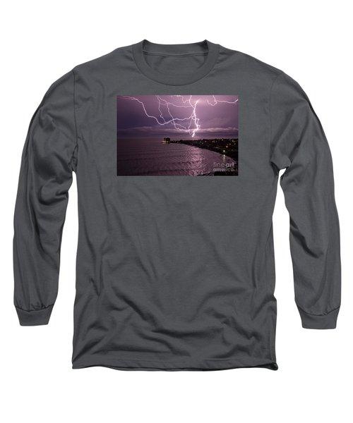 Lightning Up The Night Long Sleeve T-Shirt by Bob Hislop