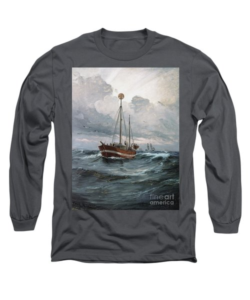 Lightship At Skagen Reef Long Sleeve T-Shirt by Pg Reproductions