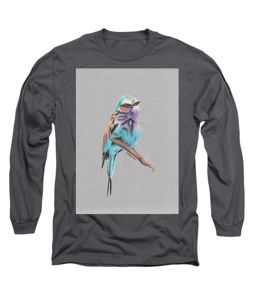 Long Sleeve T-Shirt featuring the drawing Lilac Breasted Roller by Gary Stamp