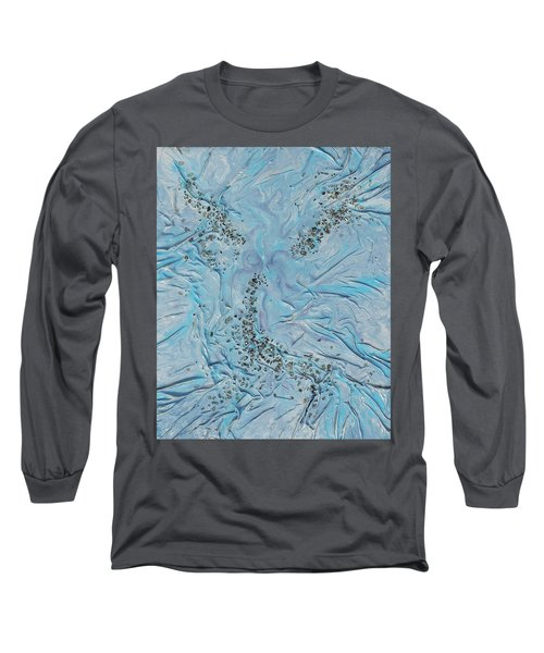 Long Sleeve T-Shirt featuring the mixed media Lilac Sunstones by Angela Stout