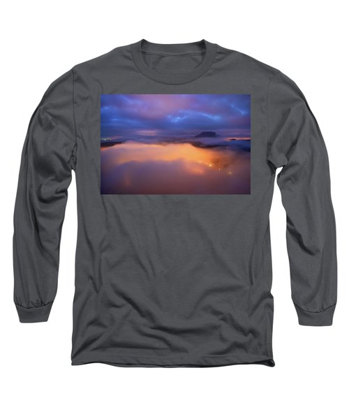 Lilienstein Night View, Saxon Switzerland, Germany Long Sleeve T-Shirt