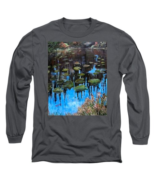 Lilly Pads And Reflections Long Sleeve T-Shirt by Barbara O'Toole
