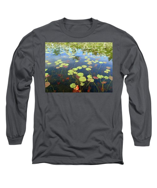 Lily Pads And Reflections Long Sleeve T-Shirt by Susan Lafleur