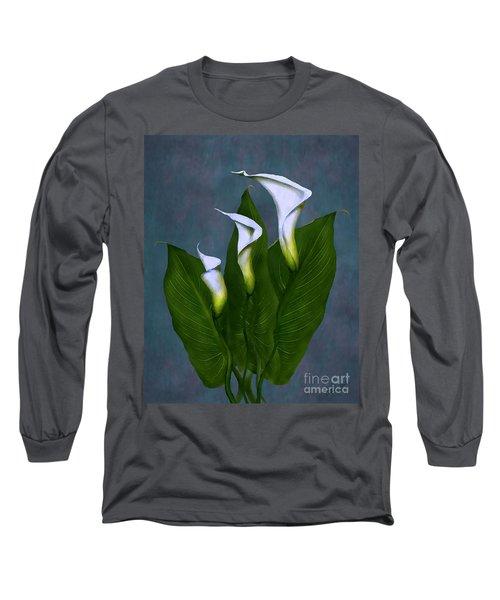 White Calla Lilies Long Sleeve T-Shirt by Peter Piatt