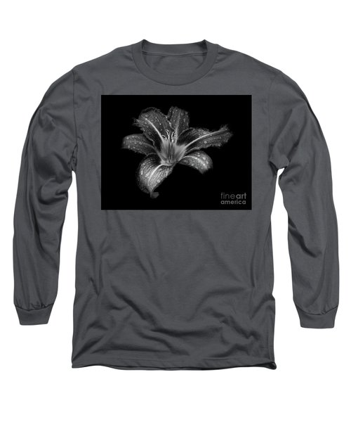 Lily Raindrops In Giverny, France, Black And White Long Sleeve T-Shirt