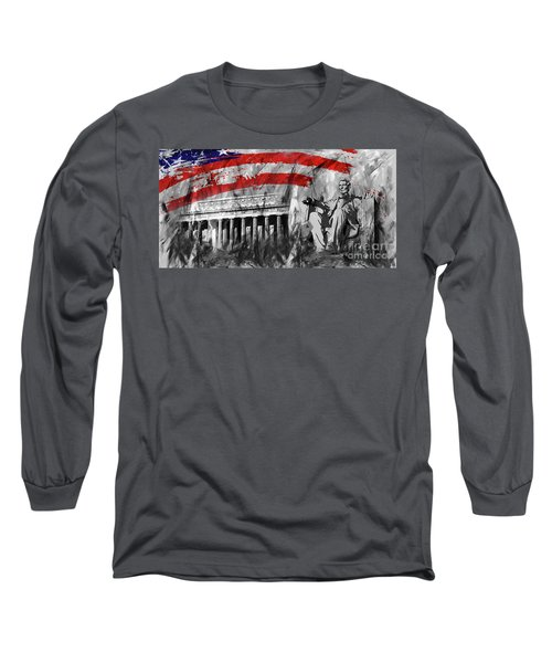 Long Sleeve T-Shirt featuring the painting Lincoln Abe by Gull G