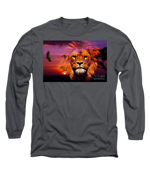 Lion And Eagle In A Sunset Long Sleeve T-Shirt by Annie Zeno