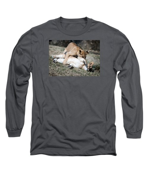 Lion Cubs At Play Long Sleeve T-Shirt by Cathy Donohoue