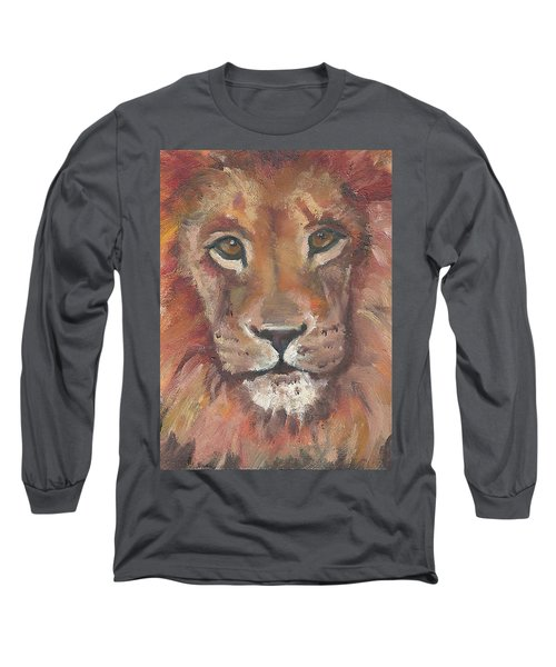 Long Sleeve T-Shirt featuring the painting Lion by Jessmyne Stephenson