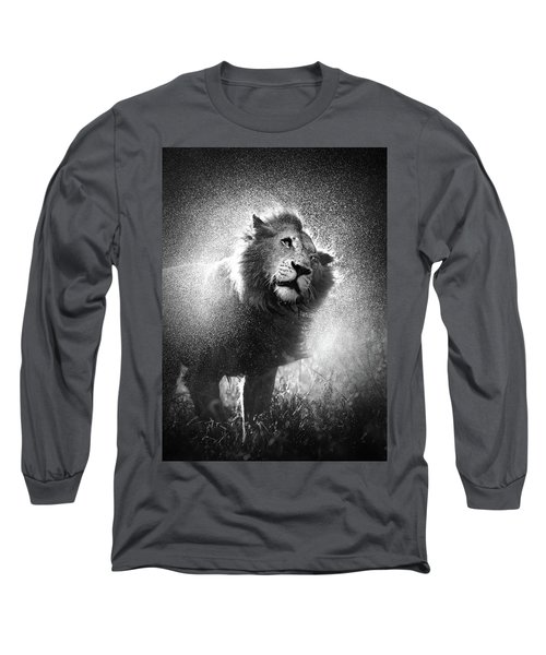 Lion Shaking Off Water Long Sleeve T-Shirt