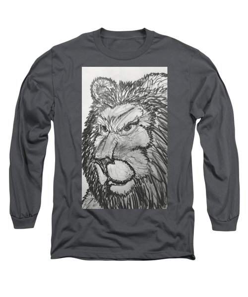 Lion Sketch  Long Sleeve T-Shirt by Yshua The Painter