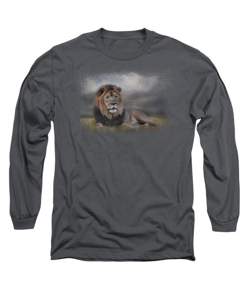 Lion Waiting For The Storm Long Sleeve T-Shirt by Jai Johnson