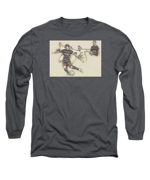 Lionel Messi Scores A Penalty Kick Against Levante  Long Sleeve T-Shirt by Don Kuing