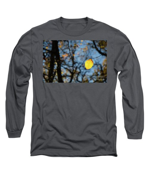 Long Sleeve T-Shirt featuring the photograph Lit Lone Leaf by Kennerth and Birgitta Kullman