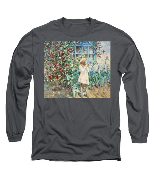 Little Girl With Roses  Long Sleeve T-Shirt by Pierre Van Dijk