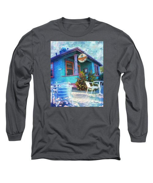 Little House Cafe  Long Sleeve T-Shirt by Linda Weinstock