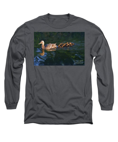Long Sleeve T-Shirt featuring the photograph Little Quacker Formation by Debby Pueschel