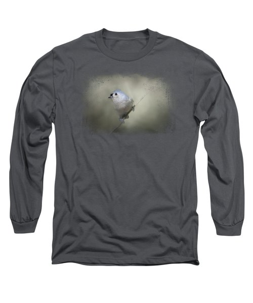 Little Tufted Titmouse Long Sleeve T-Shirt by Jai Johnson